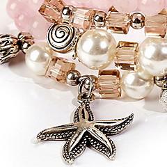 Dame Charm-armbånd Strand Armbånd Wrap Armbånd Mode Krystal Stjerneformet Lys pink Smykker For Afslappet 1 Stk.