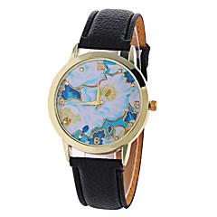 Dames Modieus horloge Kwarts Digitaal Maanfase PU Band Vintage Snoep Bloem Bedeltjes Vrijetijdsschoenen Cool Zwart WitWit Zwart Roos