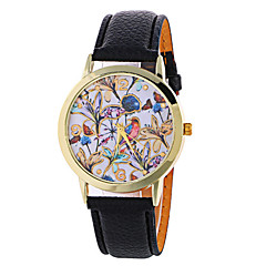 Dames Dress horloge Modieus horloge Polshorloge Kwarts / PU Band Bloem Zwart Wit Rood Bruin Groen Merk