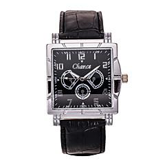 Men's Black PU Leather Band Chance Analog Quartz Wrist Watch