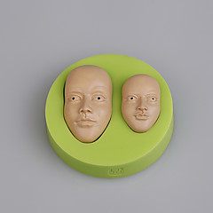 Ferramentas de bolo de fondant de moldes de silicone jovens mens faces bolo decoração moldes cor aleatória