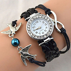 Women's Fashion Watch Bracelet Watch Wrist watch Quartz Rhinestone Imitation Diamond PU BandVintage Sparkle Heart shape Bohemian Pearls