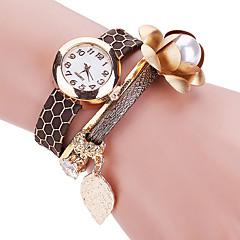 Women's Cool Quartz Fashion Casual Watch PU Serpentinite Belt Beautiful Flower Bracelet Round Dial Watch Unique Watch
