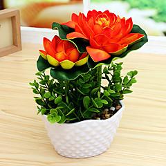 Set of 1 PCS 1 şube Polyester Lotus Masaüstü Çiçeği Yapay Çiçekler 6