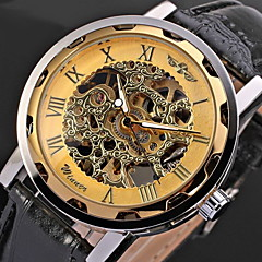 WINNER Heren Skeleton horloge Polshorloge mechanische horloges Handmatig opwindmechanisme Hol Gegraveerd PU Band Cool ZwartWit / blauw