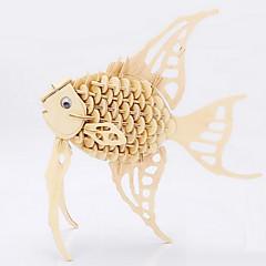 Puzzle Zabawki 3D / Drewniane puzzle Cegiełki DIY Zabawki Rybki Drewno Złoty Model / klocki