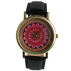 Dames Dress horloge Modieus horloge / Kwarts PU Band Bloem Zwart