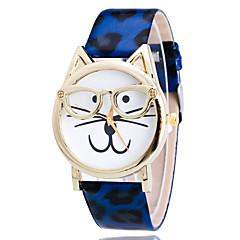 Women's Watch Kid's Watch Leopard Cat Shape Cartoon PU Leather Band Fashion Wrist Watch