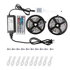 KWB 2 * 5m-5050-150-RGB-IP44 44k2key ir-kontrolleren 6apower forsynings ledet stripe lys kit ikke-vanntett