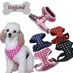 Dog Harness Adjustable/Retractable Stars Black / Green / Blue / Pink Fabric