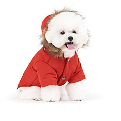 Perros Abrigos / Saco y Capucha Rojo / Azul / Beige Ropa para Perro Invierno / Primavera/Otoño Un Color Mantiene abrigado / Paravientos: /