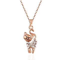 Damskie Naszyjniki z wisiorkami Kryształ Animal Shape Kot Kryształ Kryształ górski StopHipoalergiczny Ręcznie wykonane Słodkie Style