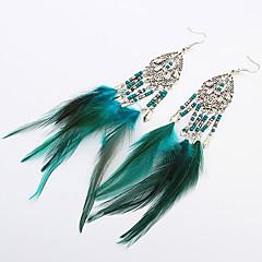 Women Fashion Bohemian Beaded Feather Tassel Droplets Drop Earrings