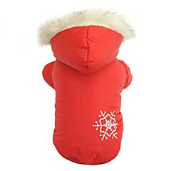 Chien Manteaux / Pulls à capuche Rouge / Marron Vêtements pour Chien Hiver Motif de flocon de neige Garder au chaud / Réversible / Noël