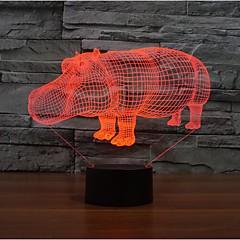 הקרנף נוגע עמעום 3D LED מנורת לילה מנורת אווירת קישוט 7colorful תאורת חידוש אור חג המולד