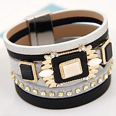 Women Fashion Gem Magnetic Wide Leather Multilayer Mracelet