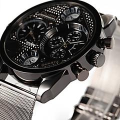 Oulm Męskie Zegarek na nadgarstek Kwarcowy Dwie strefy czasowe Stop Pasmo Nowoczesne Na co dzień Srebro Black