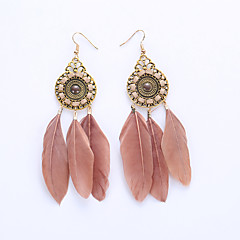 Drop Earrings Hoop Earrings Earrings Jewelry Feather Alloy Fashion Feather Black Brown Red Rainbow Khaki JewelryWedding Party Halloween