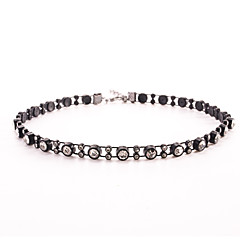 Black Tatoo Unique Punk Style Double Row Crystal Choker Necklace for Women
