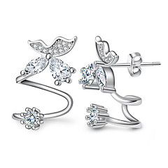 Women's Fine 925 Silver/Rose Gold Flower Stud Clip Earrings with AAA Zircon Gift (1 Pair)