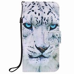 Til samsung galaxy j7 j5 (2016) case cover hvid leopard maleri pu telefon taske j5 j3 g360 g530