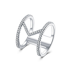 lureme  Fine Jewelry Fashion Cubic Zirconia V Shaped Diamond Ring Engagement Band Ring