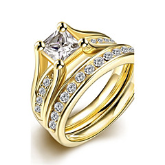 Ring AAA Cubic Zirconia Stainless Steel Zircon Cubic Zirconia Fashion Golden Jewelry Wedding Party Daily Casual 1pc