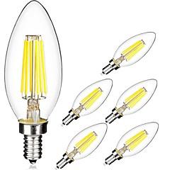 6W E14 Lampadine LED a incandescenza C35 6 COB 560 lm Bianco caldo / Luce fredda V 6 pezzi