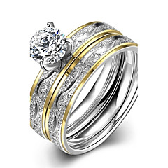 Dame Ring Forlovelsesring Mode Europæisk kostume smykker Rustfrit Stål Zirkonium Guldbelagt Smykker Til Bryllup Fest Daglig Afslappet