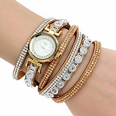 Women's Fashion Watch Wrist watch Bracelet Watch Simulated Diamond Watch Colorful Imitation Diamond Quartz PU BandBohemian Charm Bangle