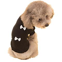 Perros Suéteres Negro / Blanco Ropa para Perro Primavera/Otoño Lazo Mantiene abrigado