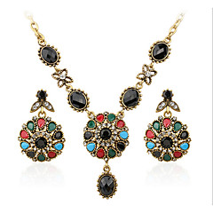 Jewelry 1 Necklace 1 Pair of Earrings AAA Cubic Zirconia Casual 1set Women Gold Wedding Gifts