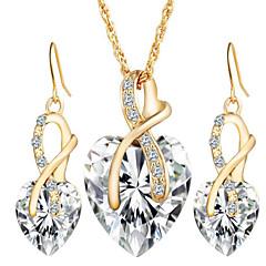 Mulheres Conjunto de Jóias Brincos Compridos Colares com Pendentes Cristal Imitação de Diamante Amor bijuterias Europeu Casamento Elegant