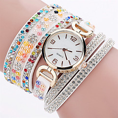 Women's Fashion Watch Wrist watch Bracelet Watch Luminous Colorful Imitation Diamond Quartz PU BandVintage Sparkle Candy color Bohemian