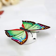 3pcs creativo colorido pasta de luz nocturna lámpara decorativa mariposa del bebé bedlight (color al azar) con la batería