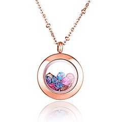 Fashion Color Rhinestone Filled 316L Stainless Steel Rose Gold Plated Pendant Necklace