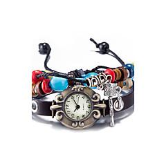Unisex Fashion Watch Wrist watch Bracelet Watch Water Resistant / Water Proof Quartz Leather Band Vintage Bohemian Bangle Black