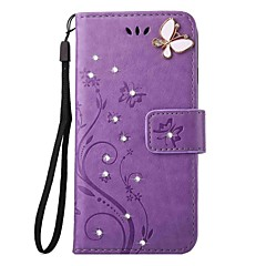 For Card Holder / Wallet / Rhinestone / with Stand / Flip / Embossed/Full Body Case Butterfly Hard PU Leather for iPhone 7 7 Plus 6s 6 Plus SE 5s 4