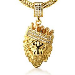 Ανδρικά Κρεμαστά Κολιέ Στρας Crown Shape Animal Shape Λιοντάρι Χρυσό Προσομειωμένο διαμάντι 18K χρυσό Κράμα Rock Εξατομικευόμενο κοστούμι