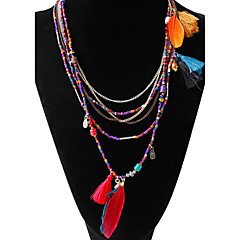MISSING U Women's All Matching Vintage Elegant Strands Necklaces Jewelry Party / Daily / Casual Tassel / Bohemia Style Alloy / Resin / Feather