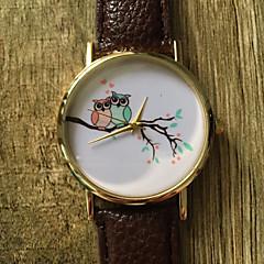 Dames Modieus horloge Polshorloge / Kwarts PU Band Vintage Cool Vrijetijdsschoenen Uil Zwart