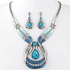 Ékszer készlet Divat Európai Drágakő Gyanta Ötvözet Lógó Kék 1 Nyaklánc 1 Pár fülbevaló Mert Parti 1set Esküvői ajándékok