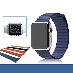 Lederen lus voor appel horloge echt lederen vervanging horloge band armband riem
