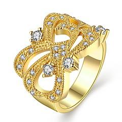 טבעות זירקונה מעוקבת קזו'אל תכשיטים סגסוגת נשים טבעת 1pc,7 8 מוזהב