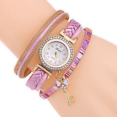 Women's Bracelet Watch Simulated Diamond Watch Quartz PU Band Black White Blue Red Brown Pink