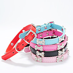 Dog Collar Adjustable/Retractable / Strobe/Flashing Solid / Bone / Rhinestone / Nature & Landscapes Red / Black / Blue / Pink / RosePU