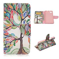 livets træ mønster mode pu læderetui med stativ og kort holder til bq Aquaris m5 (assorterede farver)
