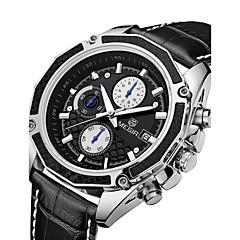 Hombre Reloj Deportivo Reloj Militar Reloj de Vestir Reloj de Moda Reloj de Pulsera Cuarzo Digital Calendario Cuero Auténtico Banda