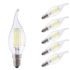 3.5W E14 LED Filament Bulbs B35L 4 COB 400/350 lm Cool White/ Warm White Dimmable AC 220-240 V 6 pcs