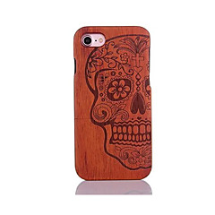 For Shockproof Embossed Pattern Case Back Cover Case Skull Pattern Hard Pear Solid Wood for Apple iPhone 7 7 Plus 6s 6 Plus SE 5s 5